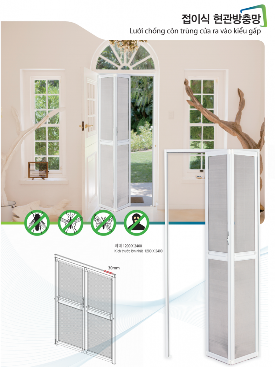 Insect-proof folding doors mesh